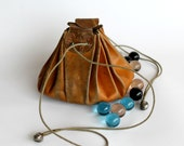 Vintage Leather Marble Pouch Bag