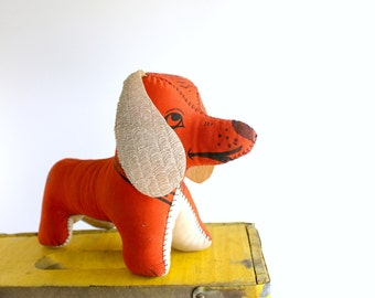 Vintage Daxi Autograph Hound Dog Stuffed Animal Red Dachshund Dog Lover Gift Mid Century Teen Room Decor