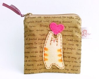 Small Cat Pouch, Cat Coin Purse, Coin Purse, Zipper Pouch Cat, Valentine For Her - Cat Lover Gift