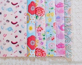 S039 Fabric Scraps Bundle Set - Pink Blue Colorway Shabby Chic Rose Paisley Floral Garden Teacup Afternoon Tea (6PCS, 9x9 Inches)