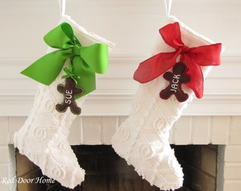 Personalized White Chenille Christmas Stocking Vintage Ruffle Top Bow
