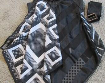 upcycled tank top to tunic sz M refashion vintage scarves black & white polka dots festival boho artsy one of a kind