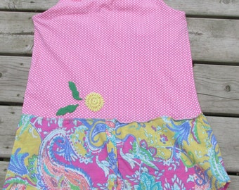 upcycled pink tank top tunic sundress refashion sz S-M polka dot & paisley vintage doilies