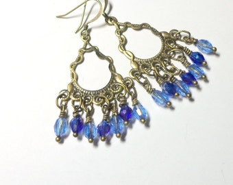 Earrings, Chandelier, Blue Earrings, Chandeliers Blue, Antique Brass, Victorian Earrings, Spiritcatdesigns