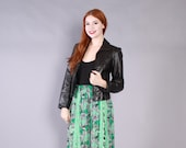 Vintage  80s LEATHER JACKET / 1980s Fitted Cropped Black Leather Jacket XS