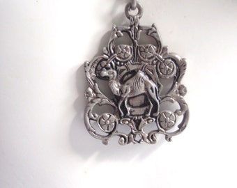Vintage Tribal Etched Faux Silver Camel or Llama Jewelry - Necklace Inventory P