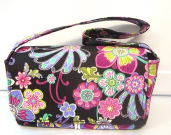 Super Size Coupon Organizer / Budget Organizer Holder Box - Attaches to Your Shopping Cart - Plum Floral