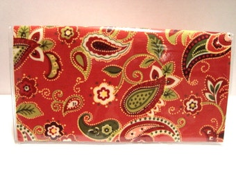 Checkbook  Holder / Cover/ Case -Rust Paisley
