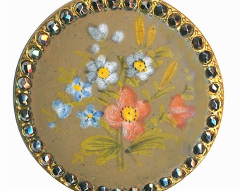 Button--Large 19th C. Hand Painted Enamel Flowers and Cut Steels