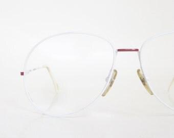 White Oversized Aviator Eyeglass Frames Wire Rim 1970s Huge Mens Guys Minimalist Retro Vintage Deadstock NOS New Old Stock Speed Racer