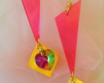 Holographic Rainbow Earrings - Geometric Jewelry - Plastic Jewelry - Neon Jewelry - Crystal Heart - 90's