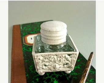 CHRISTMAS SALE Hand Painted Glass Inkwell Iron Ornament