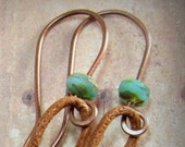 Custom listing for Michele - Copper and turquoise beaded ear wires