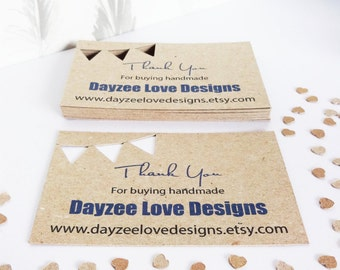 100 Rustic Business Cards, Bunting Flag die-cuts, Recycled Kraft card, eco friendly, Handmade Wedding, Save The Date Keepsakes
