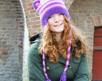 Mad Hat SALE 60% Off - Knit Hat with Cat Ears - Purple Pink Stripes - Cheshire cat