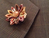 Brown Lapel Flower Mens Lapel Pin Flower Lapel Pin Brown Boutonniere Silk Boutonniere Custom Lapel Pins Men Kanzashi Pin Daisy Gifts for Men