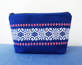 Large blue zip purse made from vintage upcycled fabric, cosmetics, knitting project, pencil case, handy pouch