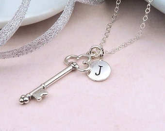 Personalized Silver Key Necklace, initial, sterling silver, add a birthstone, happy birthday gift, key jewelry