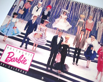 Vintage Nostalgic Barbie Calendar 1991 features 1960s Barbie Dolls - Collectible, Card Making, Altered Art, Mixed Media, Scrapbooking