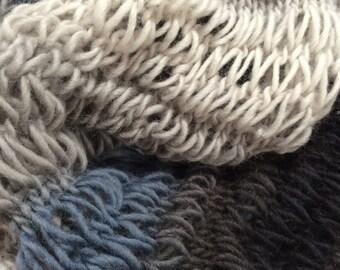 Handknitted neck warmer. Pure wool warm neck warmer.