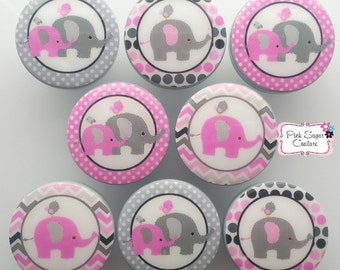 Elephant knobs pink gray grey M2M Kids Nursery Roombedding drawer pulls dots ... so cute