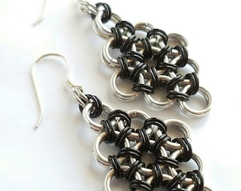 Black and Blue Anodized Aluminum Japanese 12-in-2 Chainmaille Earrings