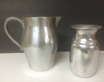 Vintage Silver Heavy Metal Pitcher and Goblet