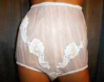 Vintage - 50's - Adoria - 100% Nylon - High Waist - Shear - Embellished Floral - Front Panel - White - Granny Panties - Size  6