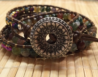 Beaded Wrap Bracelet  Brown Leather Boho Style - Metal Jasper Glass Beads Wrap Three Times