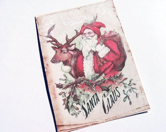 Vintage Santa Cards - Set of 4 - Santa Note Cards - Reindeer Cards - Christmas Cards - Cottage Chic Cards - Holiday Cards - Xmas Cards