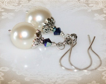 Something Blue Bridal Earrings. Swarovski Crystals and Crystal Pearls