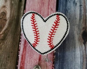 I Heart Baseball Badge Reel - Retractable Badge Reel - Uniform - ID Holder - uniform - name badge - nurse gift - teacher gift