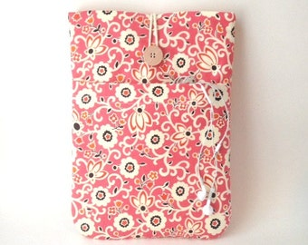 """Floral 12 """" MacBook Case or 11 Inch Mac Book Air Laptop Sleeve Coral Dandelion Cover Cord Pocket Padded Tablet Gadget Pink Flower Fabric Sac"""
