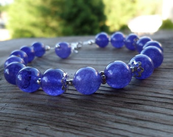 Purple Quartz Sterling Silver Gemstone Simple Bracelet