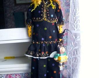 "Handmade Folk Art  Primitive 23""  Polka Dot Dora's Folk Art Kitty Angel"