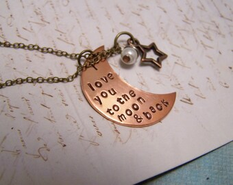 I Love You to the Moon and Back Necklace. In Copper. How Much Do I Love YOU