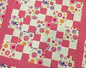 BIRDIE Modern Baby Girl Quilt Top - 41 x 41 - square - patchwork - pink and purple - baby crib bedding