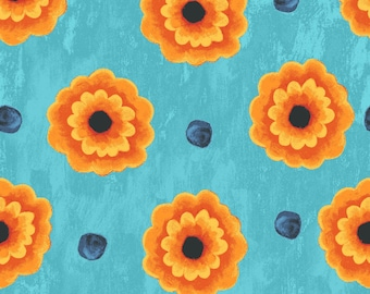 BLUE FLOWERS by P & B Textiles FLOR494-B Teal and orange quilting fabric