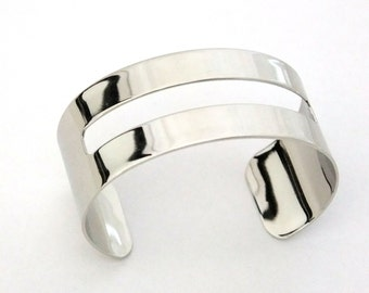 Silver Plated Cuff 1 1/8 Inch Wide Rectangle Cutout Ready For Crafting Or Wear