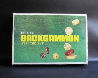 Vintage Backgammon Game in Brown Carrying Case with Original Box / Retro Portable Game
