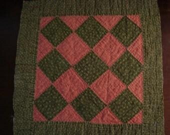 Primitive Antique 1890 - 1910 Checkerboard Quilt Block - Lancaster County PA