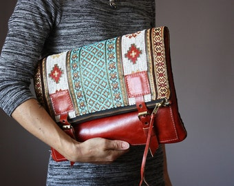 Large Leather fold over clutch, fold over bag, fold over purse, carpet bag,  tapestry fabric and Spice leather clutch, buckles