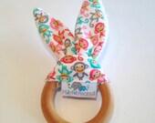 Natural Bunny Teething Ring | Teether | Bunny Ears | Teething Ring | Mini Monkeys Girl