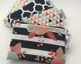 Reusable Snack Bag, Reusable Zipper Bag, Reusable Sandwich Bag, Zipper Pouch, Reusable, Floral Snack Bag, Lunch Bag, Reusable Bag, Chevron