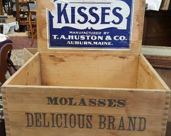 Antique Molasses Kisses Store Advertising Display Wooden Box from Rustysecrets