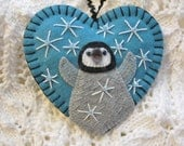 Baby Penguin Ornament - Made to Order Embroidered Fiber Art