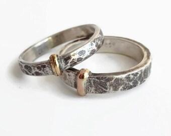 Gold & Silver Scottish Sporran Key - Sterling Silver - Oxidized - Blacksmith style - Blood of my Blood - size 8.5 - 3.25 x 1.65mms band