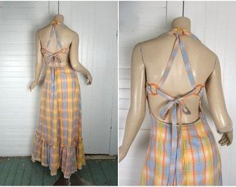 70s Plaid Halter Dress- Criss Cross Back- Peach & Blue Seersucker- Backless Sundress- 1970s Boho / Festival / Hippie Maxi