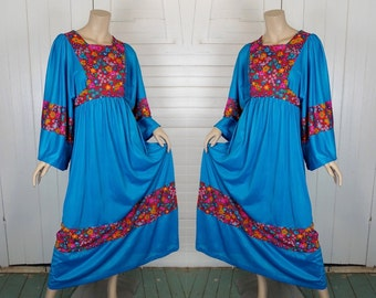 1970s Turquoise Blue & Red Folk Dress- Empire Waist, Bell Sleeves- 70s