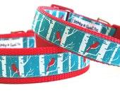 Red Cardinal - Dog Collar / Handmade / Adjustable / Pet Accessories / Birds / Christmas / Woodland